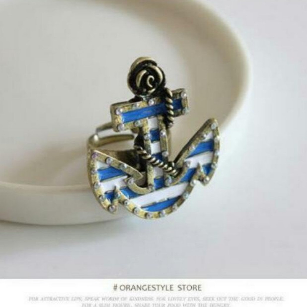 [3For$10] Nautical Blue Stripes Anchor Ring With Regard To 2017 Blue Stripes Rings (View 15 of 25)