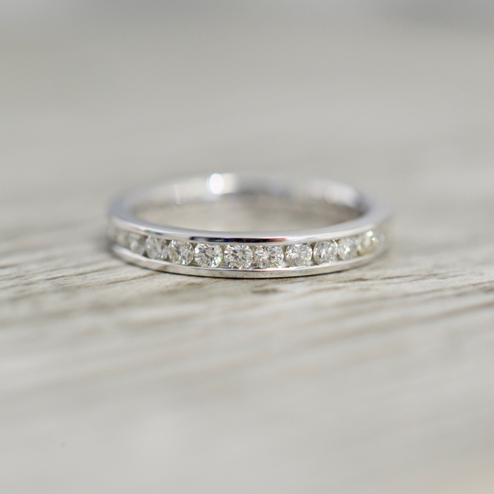 3mm Channel Set Diamond Eternity Band In White Within Latest Diamond Channel Set Anniversary Bands In White Gold (View 4 of 24)
