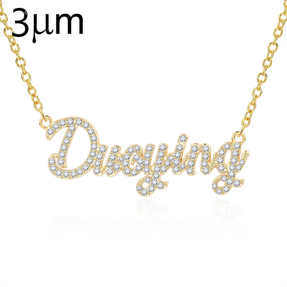 3umeter Custom Jewelry Crystal Plating Really Gold Sparkling Cut Within Most Popular Sparkling Pattern Necklaces (View 16 of 25)