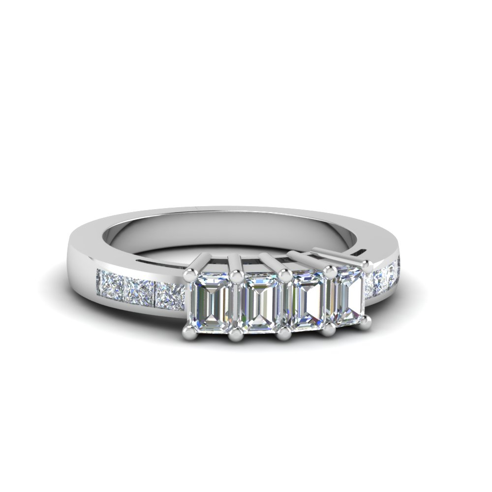 4 Emerald Cut Diamond Accents Stone Band Intended For Most Recent Diamond Accent Anniversary Bands In Gold (View 2 of 25)