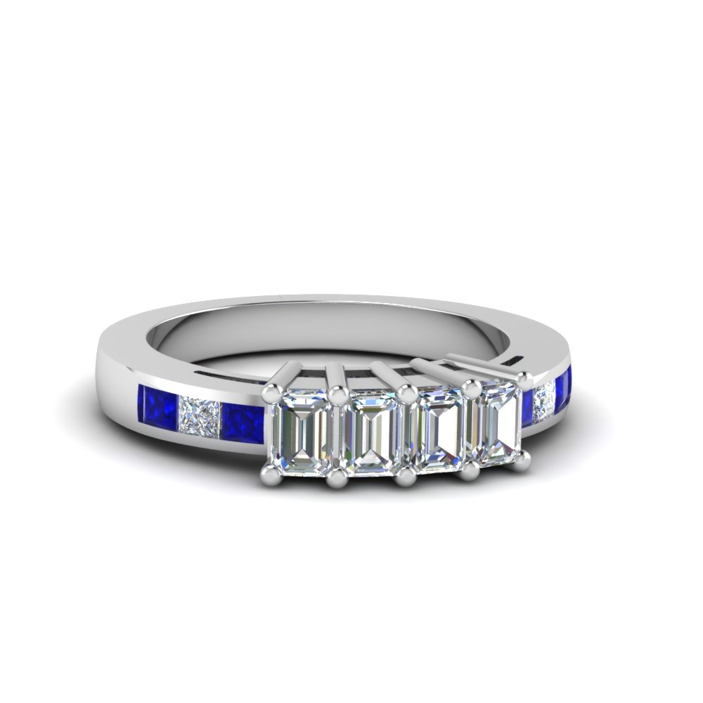 4 Emerald Cut Diamond Accents Stone Band Regarding Most Popular Diamond Accent Channel Anniversary Bands In White Gold (View 10 of 25)