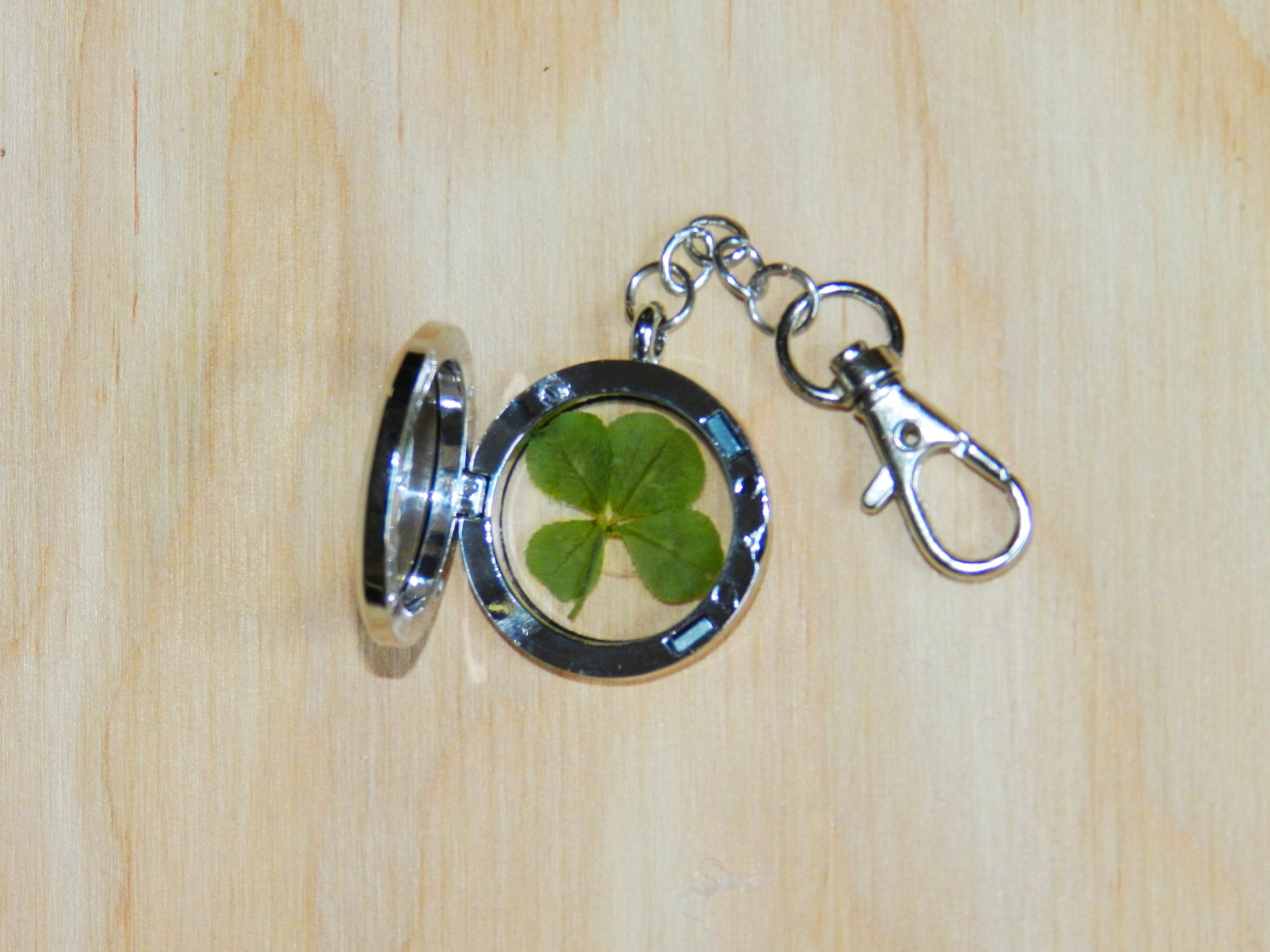 4 Four Leaf Clover Keychain, Lucky Key Ring, Good Luck Charm With Regard To Recent Lucky Four Leaf Clover Dangle Charm Necklaces (View 2 of 25)