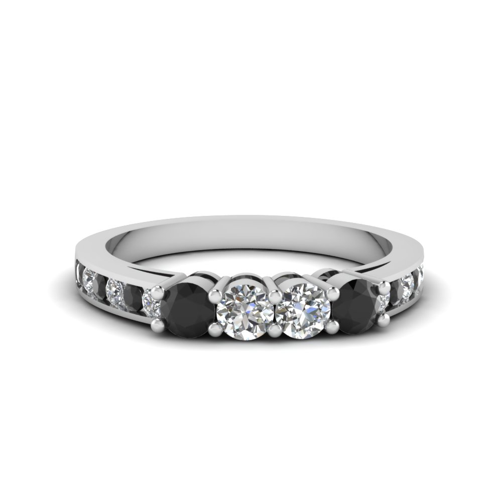 4 Round Accent Band For Women With Black Diamond In 18K White Gold With Regard To Most Recent Diamond Accent Channel Anniversary Bands In White Gold (View 11 of 25)
