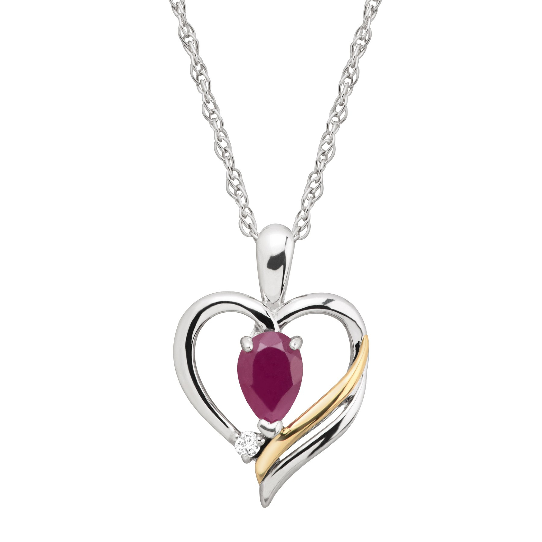 5/8 Ct Natural Ruby & 1/10 Ct Diamond Two Tone Open Heart Pendant In Sterling Silver & 14k Gold With Regard To Newest Ribbon Open Heart Necklaces (View 6 of 25)