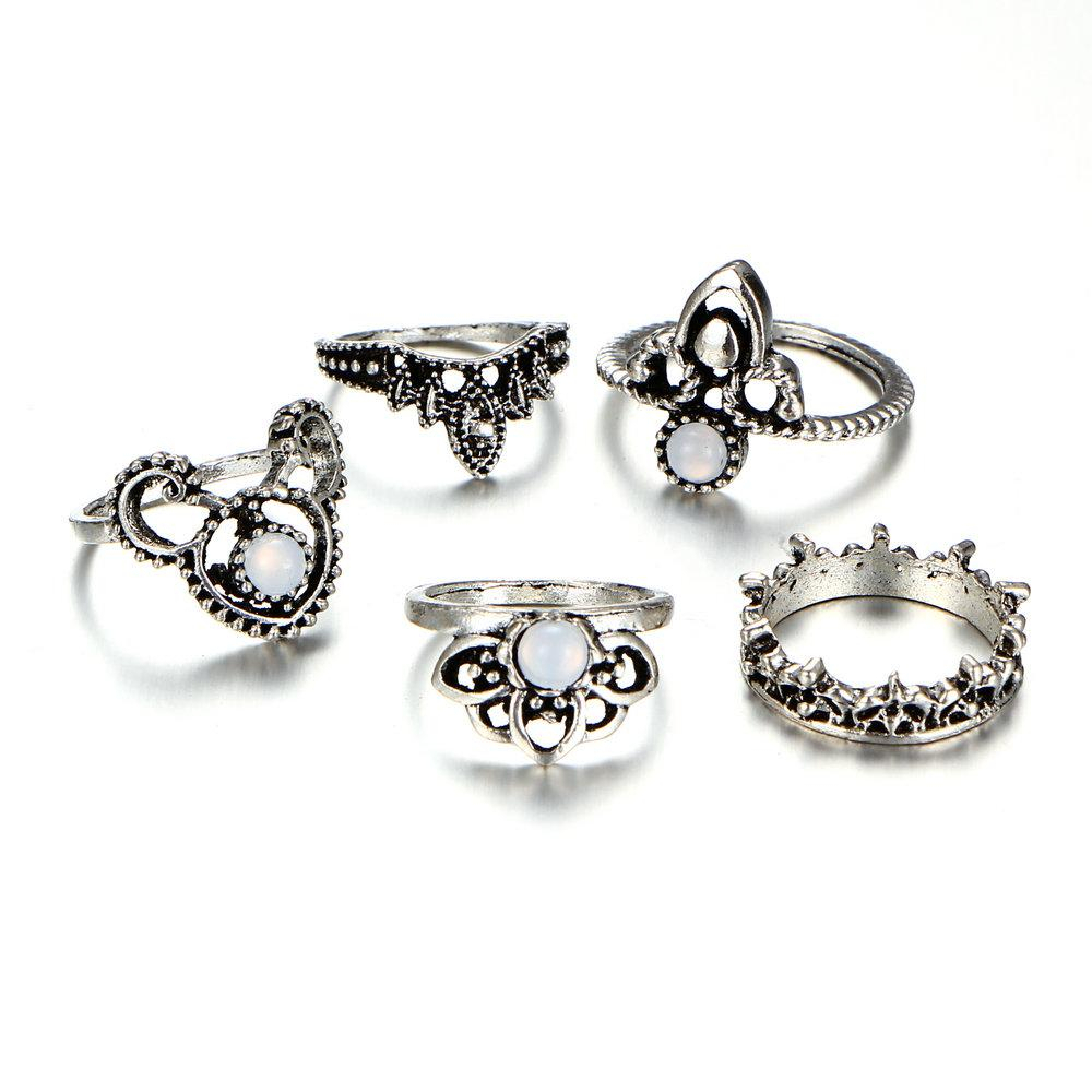 5 Pcs/lot Vintage Knuckle Ring For Women Geometric Crown/flower Design  Crystal Rings Set Party Bohemian Jewelry Gifts Ymcjr013 Within Latest Geometric Crown Rings (View 3 of 15)