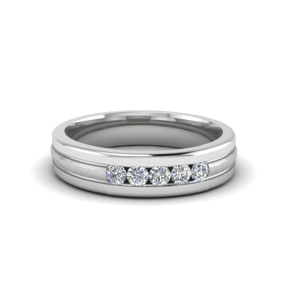 5 Stone Anniversary Band For Men For Most Popular Diamond Five Stone Anniversary Bands In White Gold (View 7 of 25)
