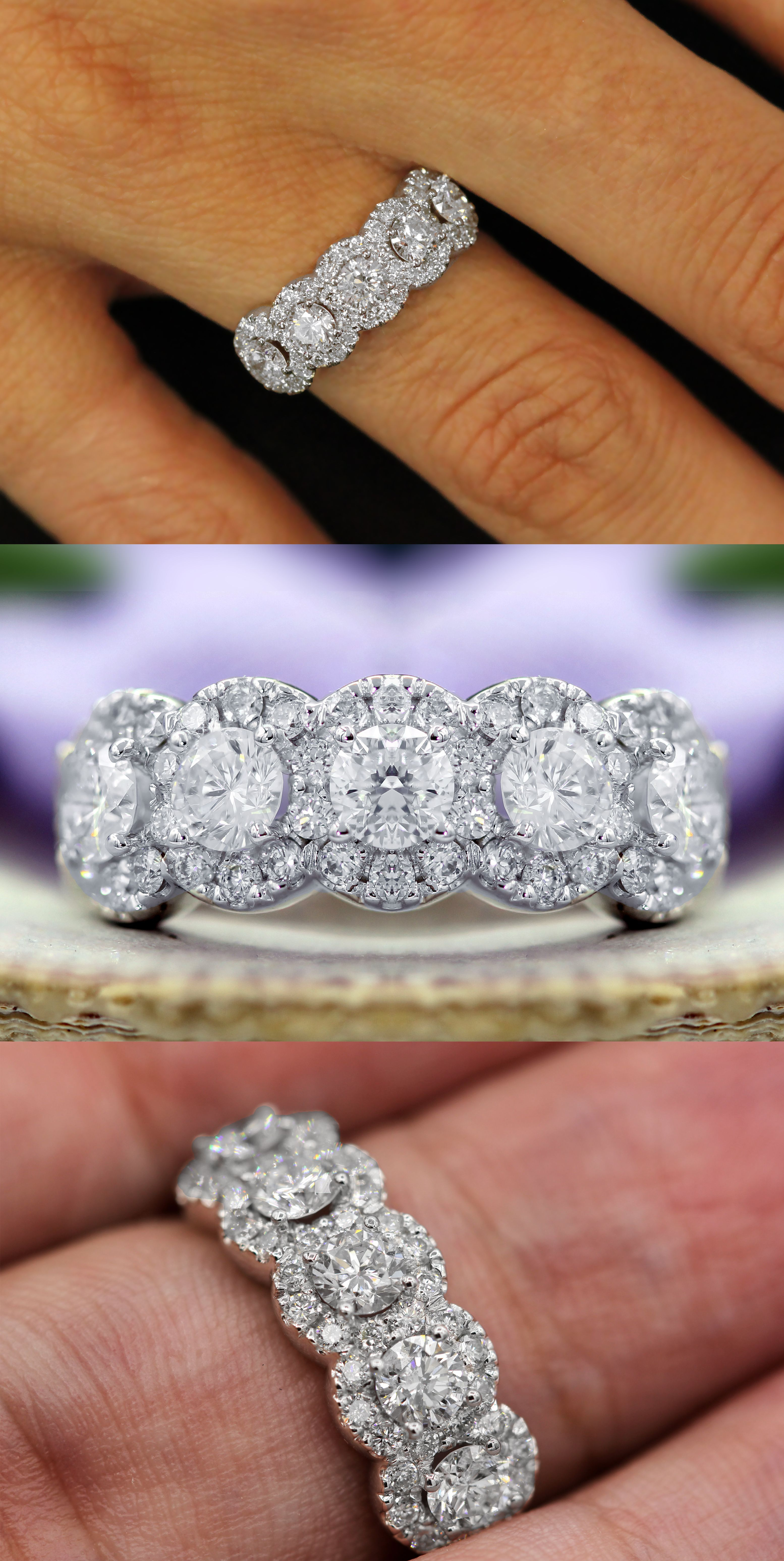 """5 Stone Diamond Halo Anniversary Ring 
