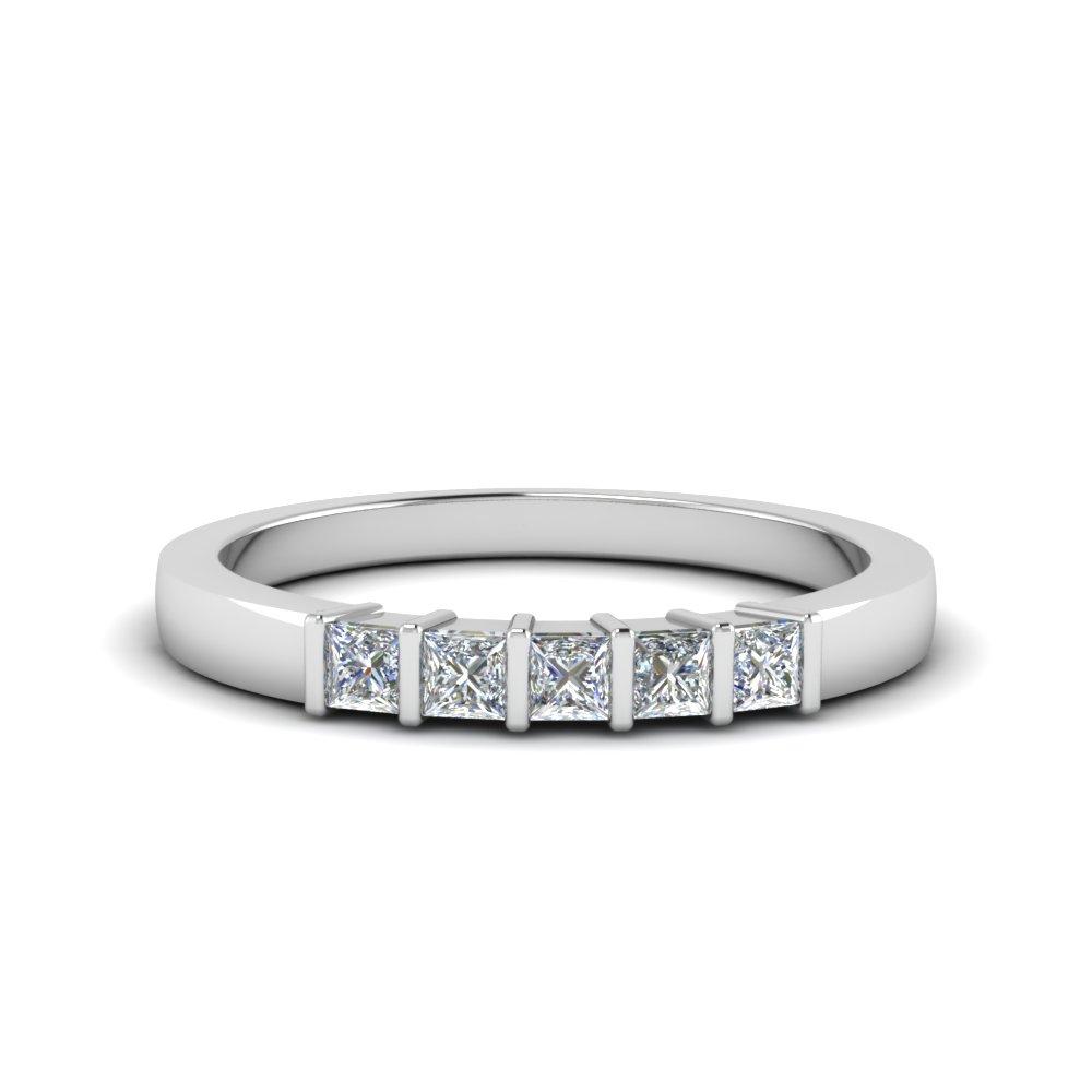 5 Stone Diamond Rings | Fascinating Diamonds Inside Latest Diamond Five Stone Bar Set Anniversary Bands In White Gold (View 9 of 25)