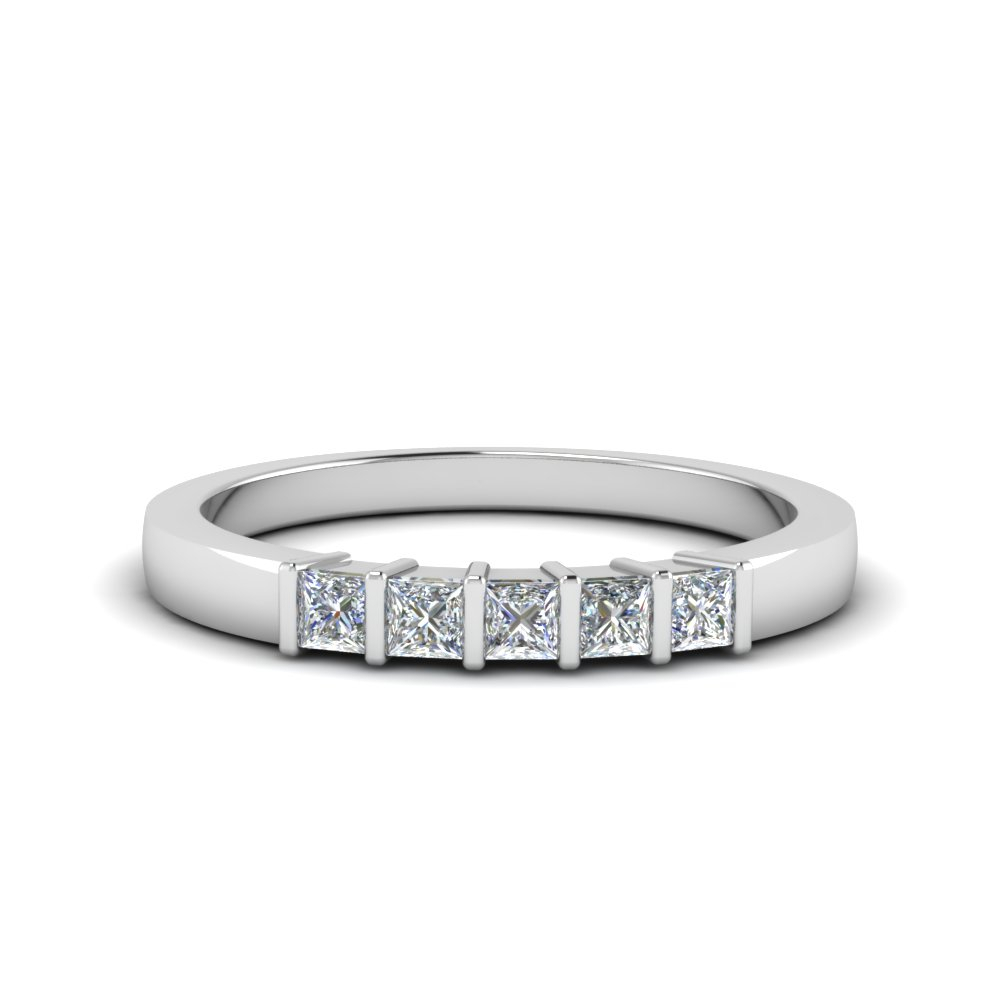 5 Stone Diamond Rings | Fascinating Diamonds With 2020 Princess Cut Diamond Five Stone Anniversary Bands In White Gold (View 4 of 25)
