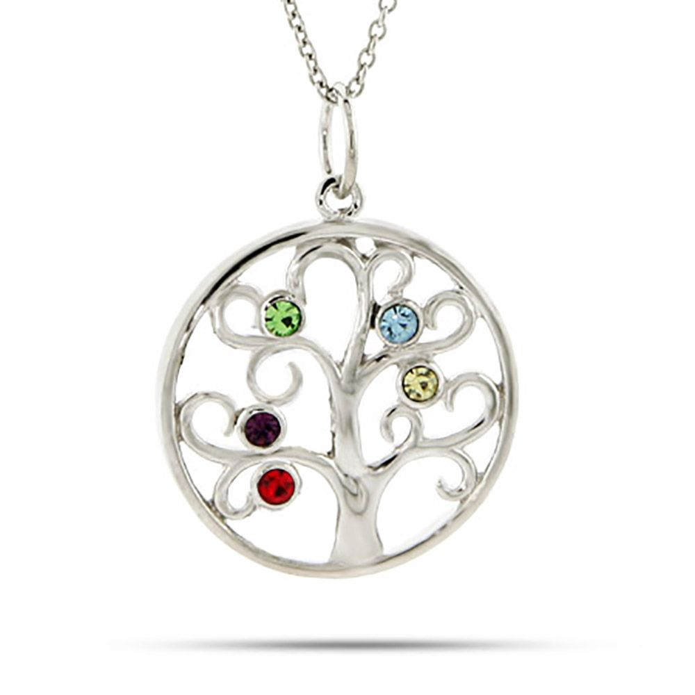 5 Stone Family Tree Necklace In Sterling Silver | Jewelry Ideas Pertaining To 2019 Sparkling Family Tree Necklaces (View 2 of 25)