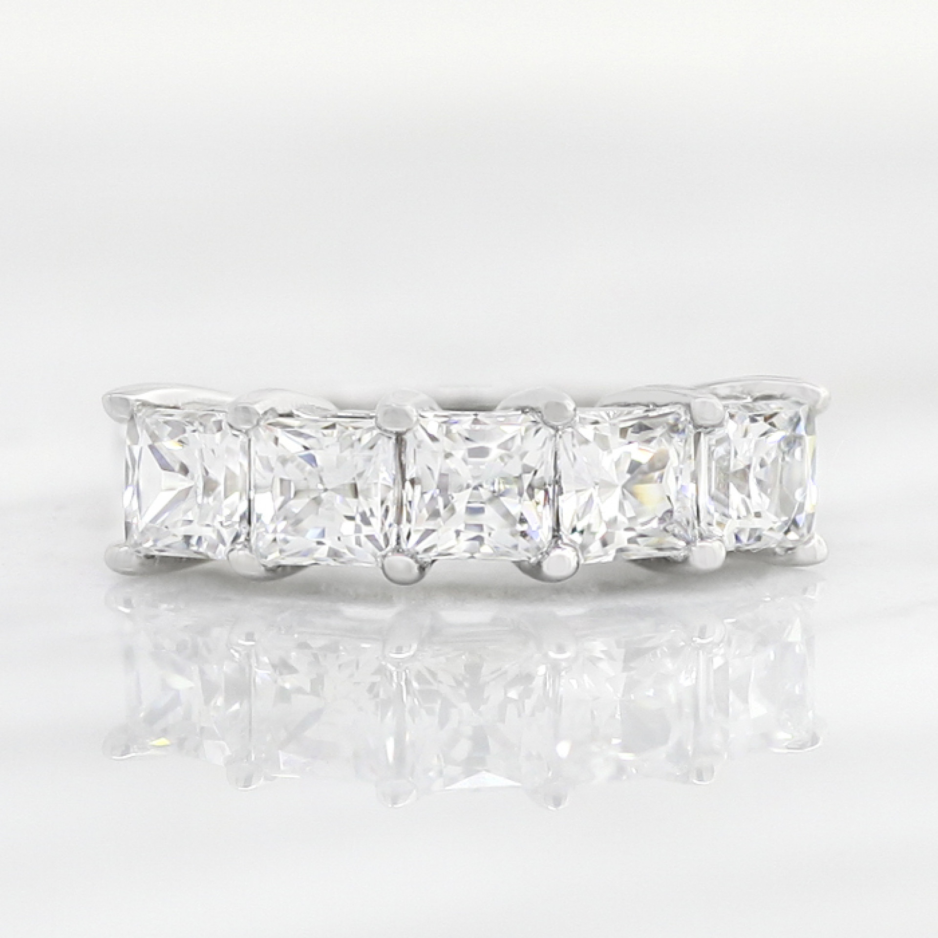 5 Stone Princess Cut Band – 14k White Gold – Ring Size 4.0 (View 3 of 25)