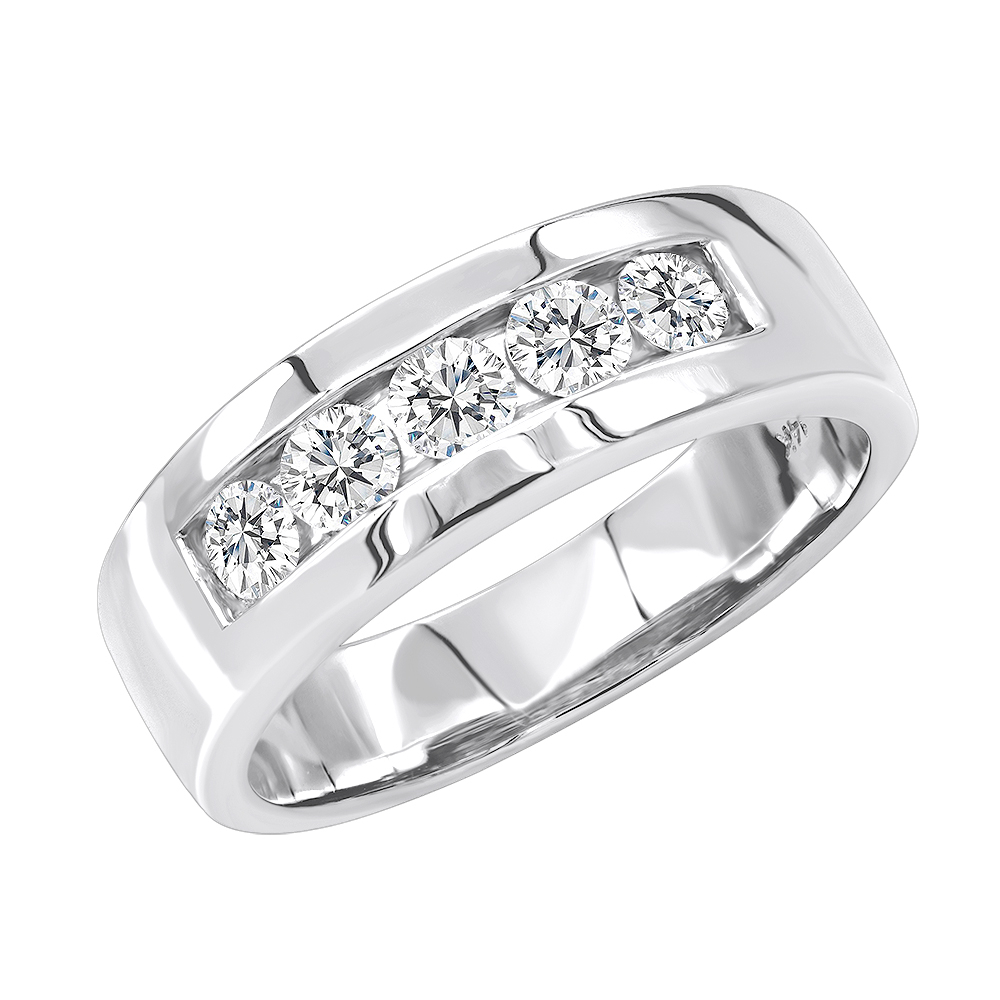5 Year Anniversary Ring 14K Gold Five Stone Diamond Wedding Band For Men 1Ct Regarding Most Up To Date Diamond Anniversary Bands In Platinum (View 5 of 25)