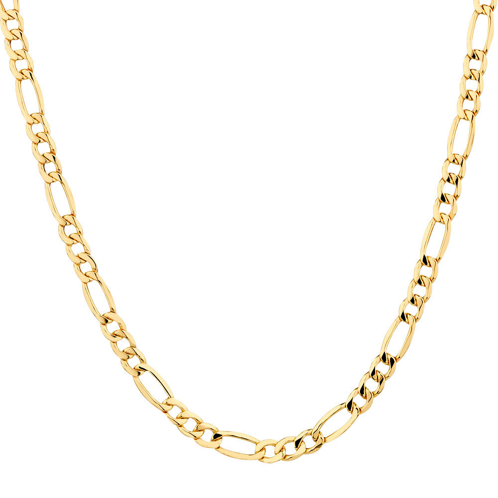 "50Cm (20"") Hollow Figaro Chain In 10Kt Yellow Gold Intended For Latest Classic Figaro Chain Necklaces (View 12 of 25)"