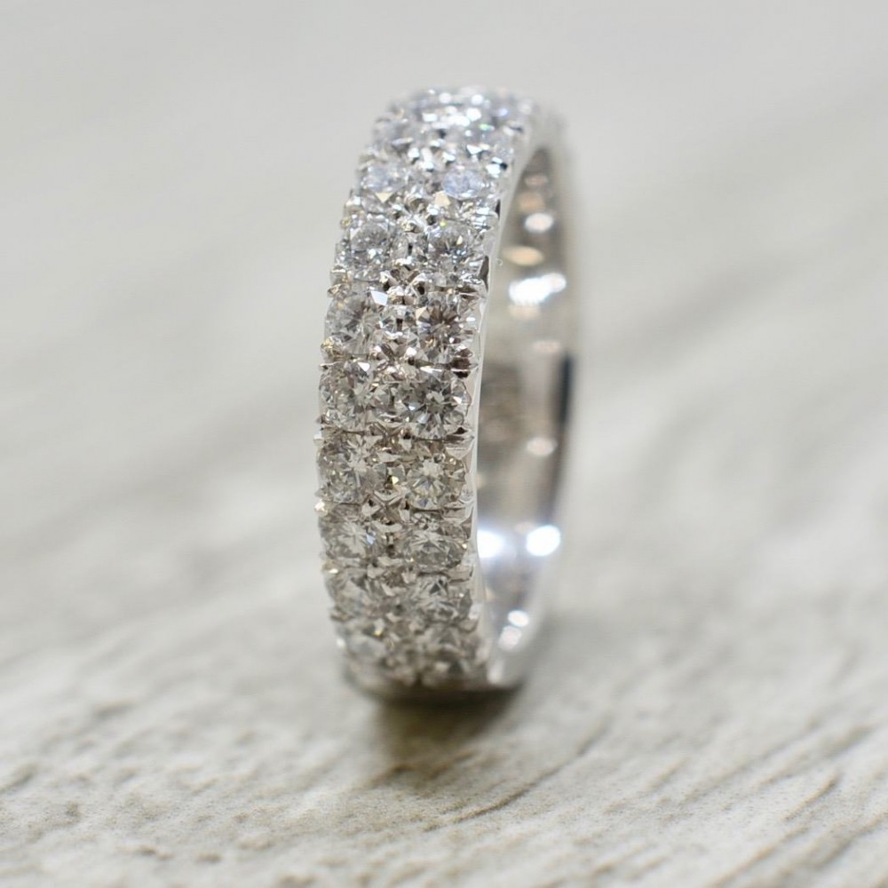 5Mm Double Row French Pavé Three Quarter Way Wedding Band In White With Regard To 2019 Diamond Double Row Anniversary Bands In White Gold (View 9 of 25)