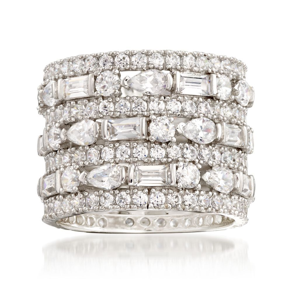 Featured Photo of Baguette And Round Diamond Alternating Multi Row Anniversary Bands In White Gold