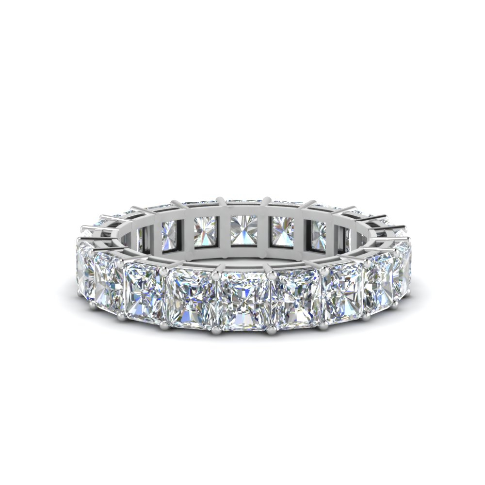 6 Carat Radiant Cut Diamond Eternity Ring Regarding Current Diamond Three Row Collar Anniversary Bands In White Gold (View 11 of 25)
