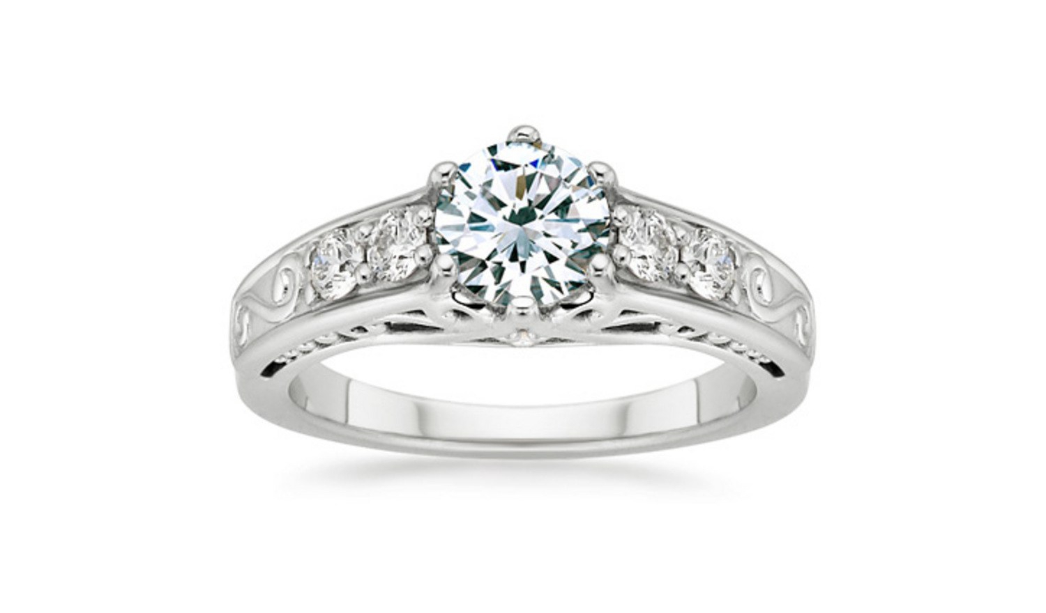 62 Diamond Engagement Rings Under $5,000 | Glamour Inside Most Up To Date Diamond Five Stone Bar Set Anniversary Bands In White Gold (View 11 of 25)