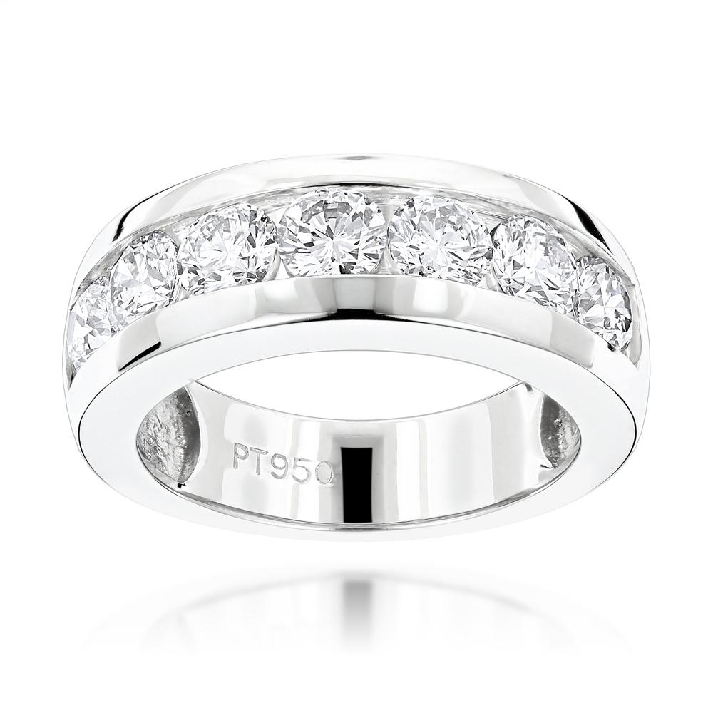 7 Stone Round Diamond Bands: Platinum Diamond Wedding Ring For Men  (View 7 of 25)