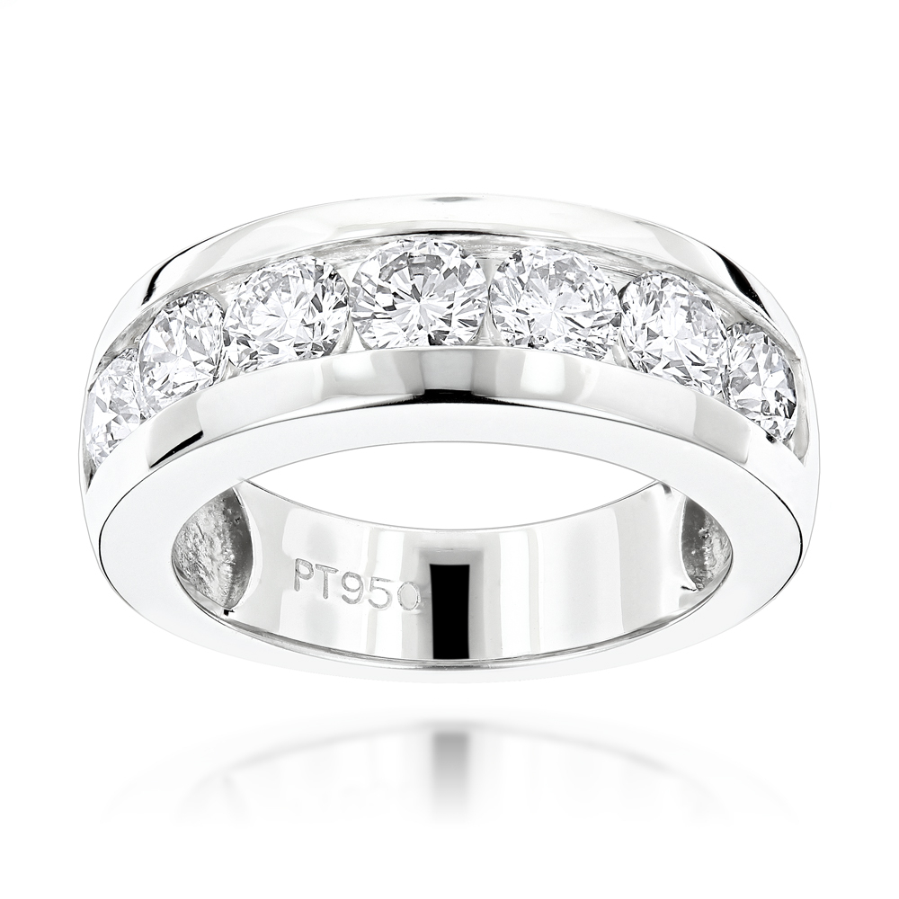 """7 Stone Round Diamond Bands: Platinum Diamond Wedding Ring For Men 1.5Ct Regarding Newest Diamond Seven Stone """"s"""" Anniversary Bands In Sterling Silver (Gallery 1 of 25)"""