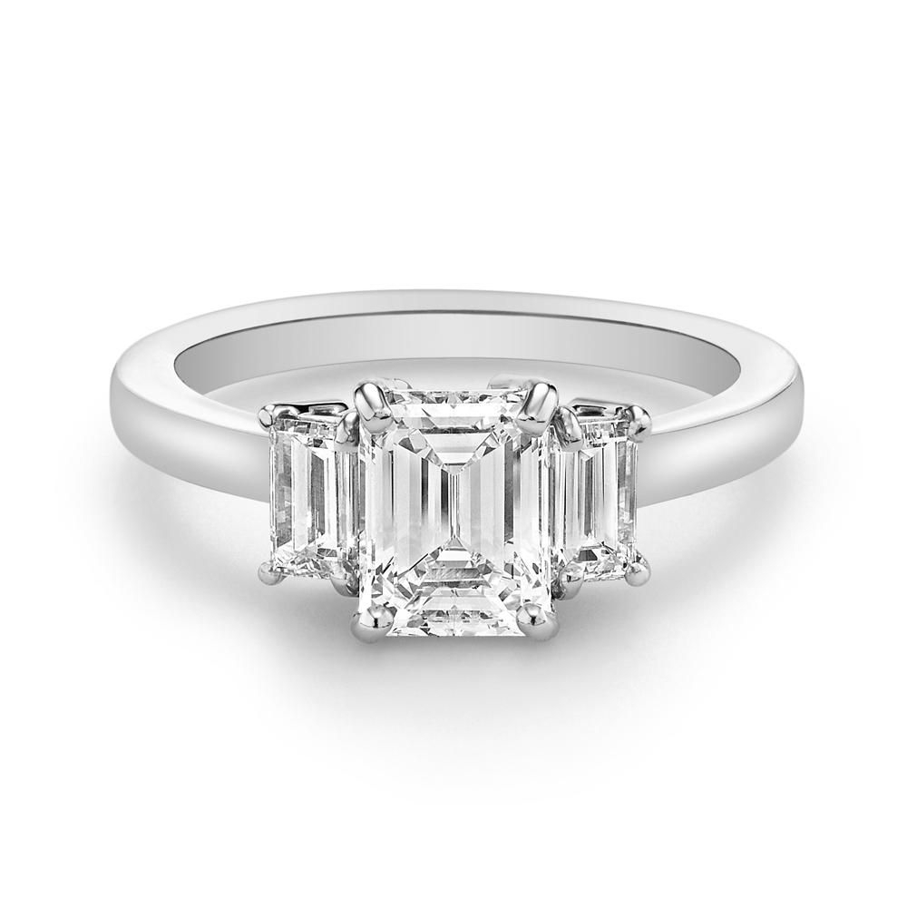 75 Stunning Three Stone Engagement Rings For Every Style Inside Latest Princess Cut Diamond Five Stone Anniversary Bands In White Gold (View 11 of 25)