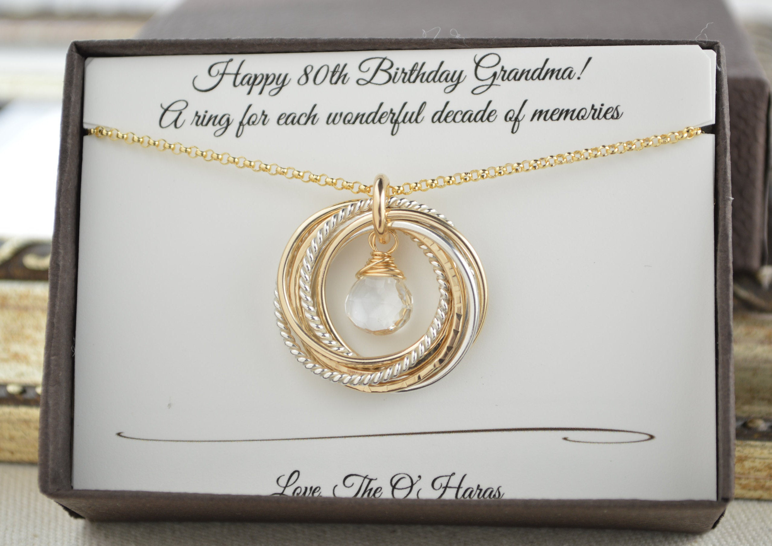 80Th Birthday Necklace For Mom And Grandma, April Birthstone Regarding Latest Rock Crystal April Droplet Pendant Necklaces (Gallery 19 of 25)