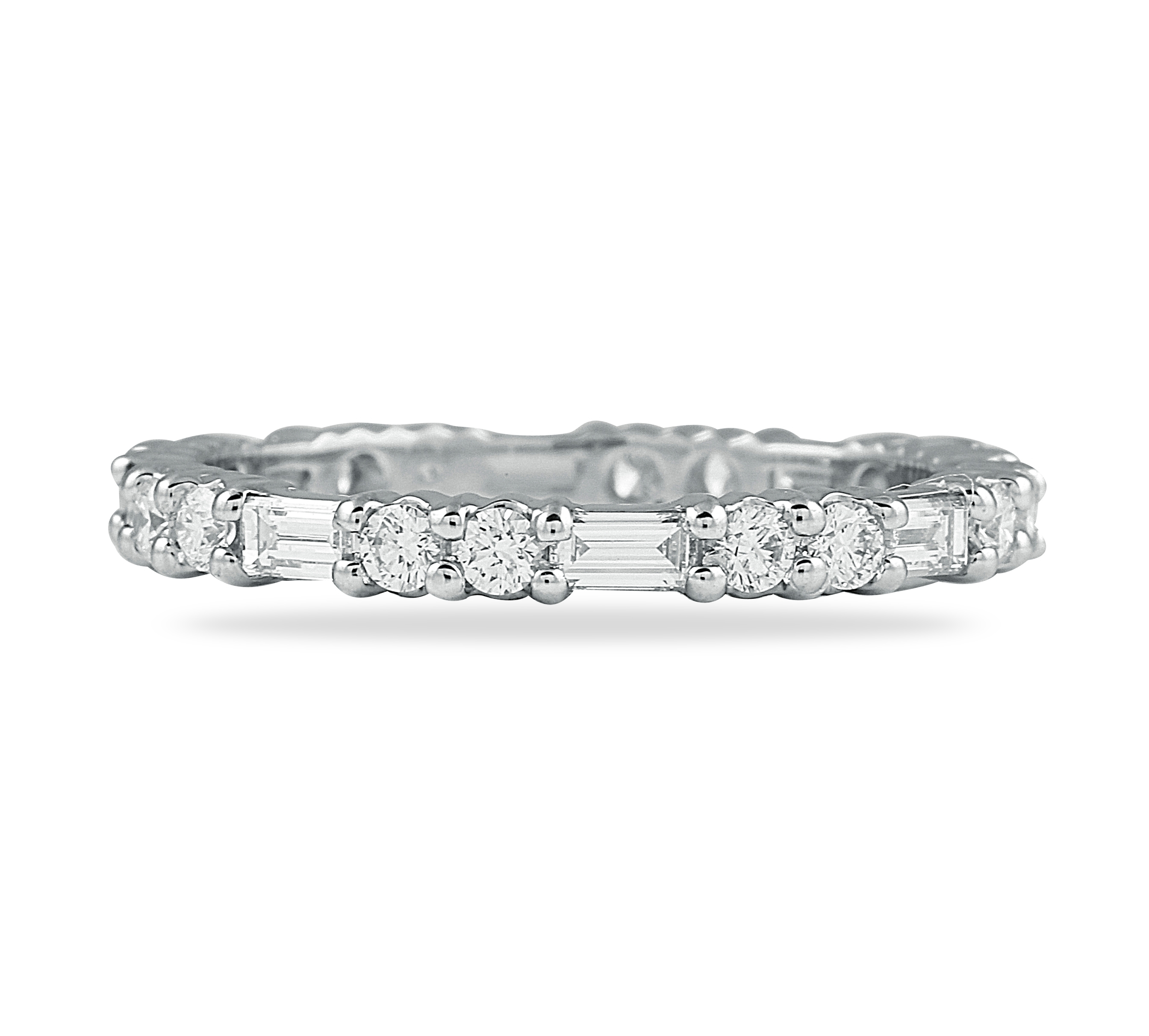 87 Ct Round And Baguette Diamond Shared Prong Eternity Band Within Most Current Baguette And Round Diamond Alternating Multi Row Anniversary Bands In White Gold (View 9 of 25)