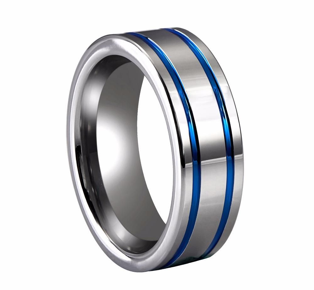 8Mm Blue Stripes Polished Edge Silver Tungsten In 2019 | Jpr Rings Intended For Most Current Blue Stripes Rings (View 2 of 25)
