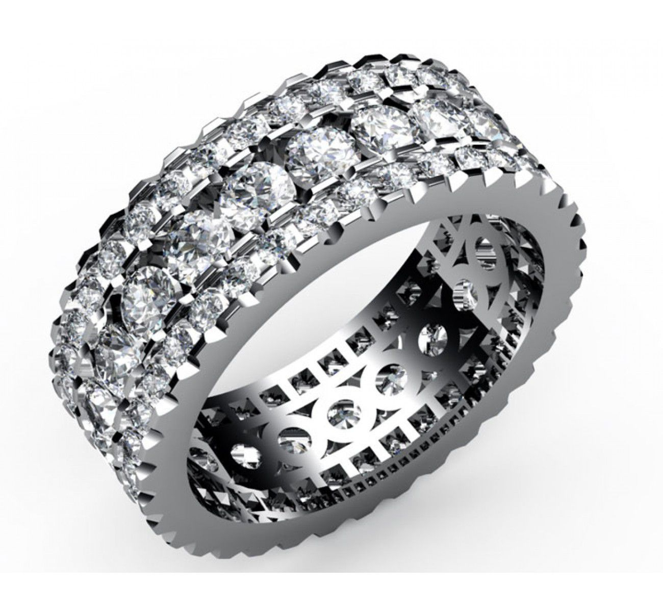91 Diamonds Three Row Eternity Ring In 18k White Gold (2.2/3 Ct. Tw (View 5 of 25)