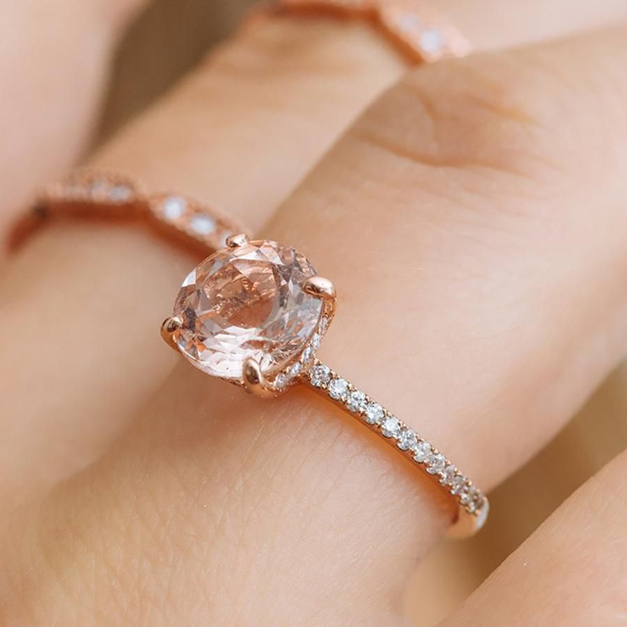 92 Rose Gold Engagement Rings For Every Bridal Style With Recent Champagne And White Diamond Quilted Anniversary Rings In White Gold (View 8 of 25)