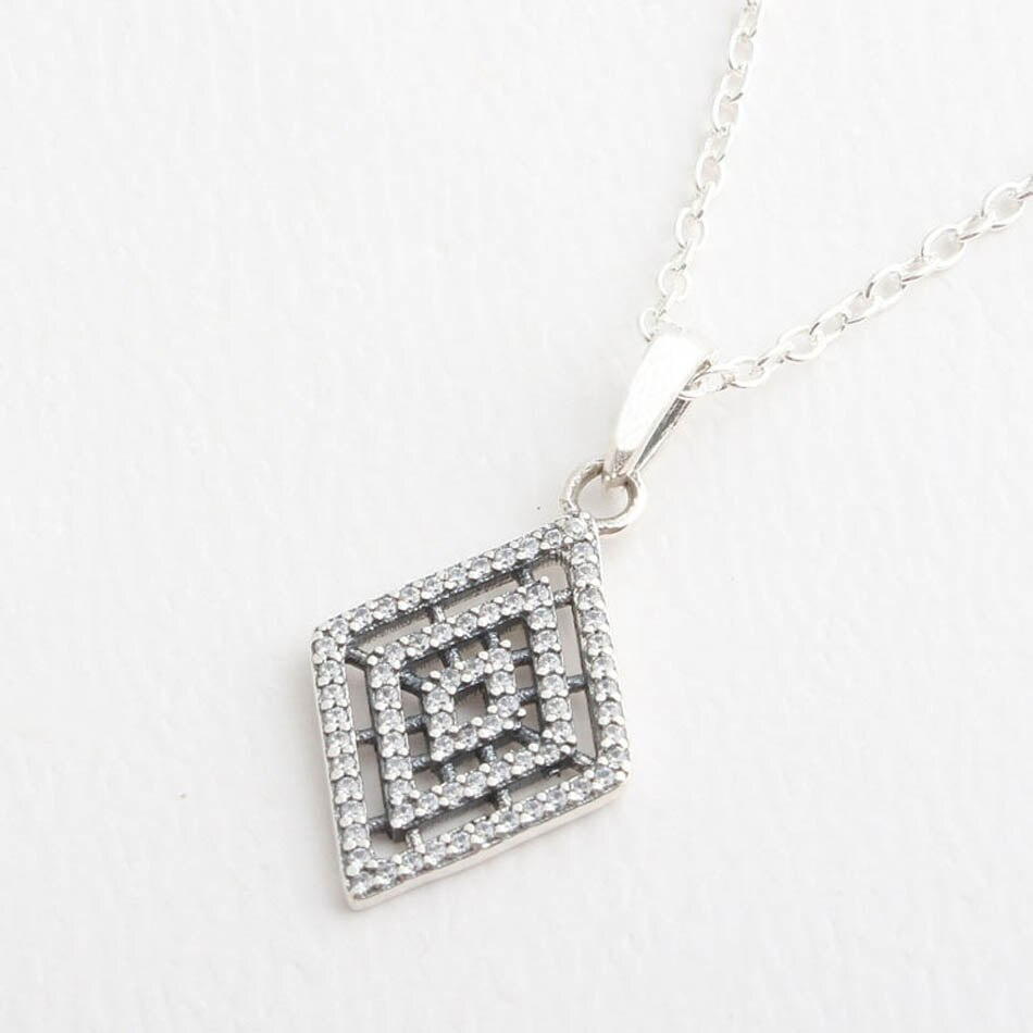 925 Silver Geometric Lines Necklace & Pendant For Women Clear Cz Pave Charm With Crystals Wedding Gift Fit Lady Jewelry With Regard To Latest Geometric Lines Necklaces (View 4 of 25)