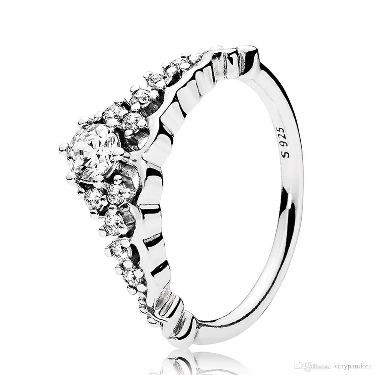 925 Sterling Silber Fairytale Tiara Mit Klaren Cz Ring Fit Pandora Charm Schmuck Engagement Hochzeit Liebhaber Mode Ring Für Frauen With Most Popular Fairytale Tiara Rings (View 5 of 25)