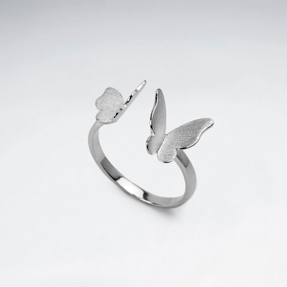 925 Sterling Silver Butterfly Open Ring – Wholesale Silver Jewelry With Most Popular Butterfly Open Rings (View 3 of 25)