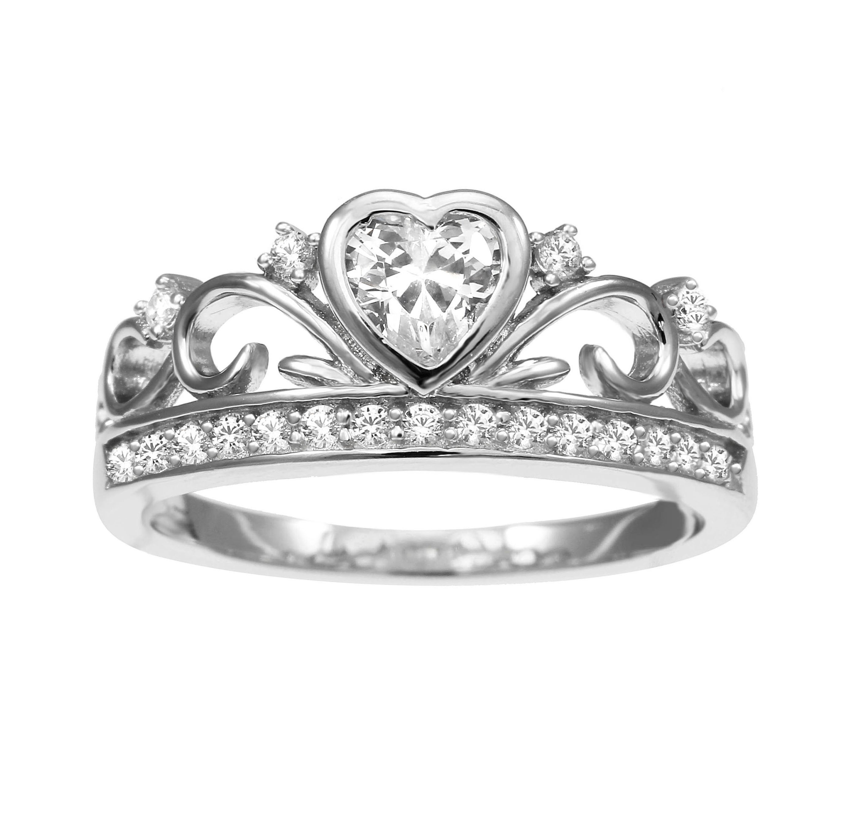 925 Sterling Silver Crown Ring,tiara Ring,silver Heart Ring,silver Tiara Pertaining To 2017 Polished Crown Rings (View 3 of 25)