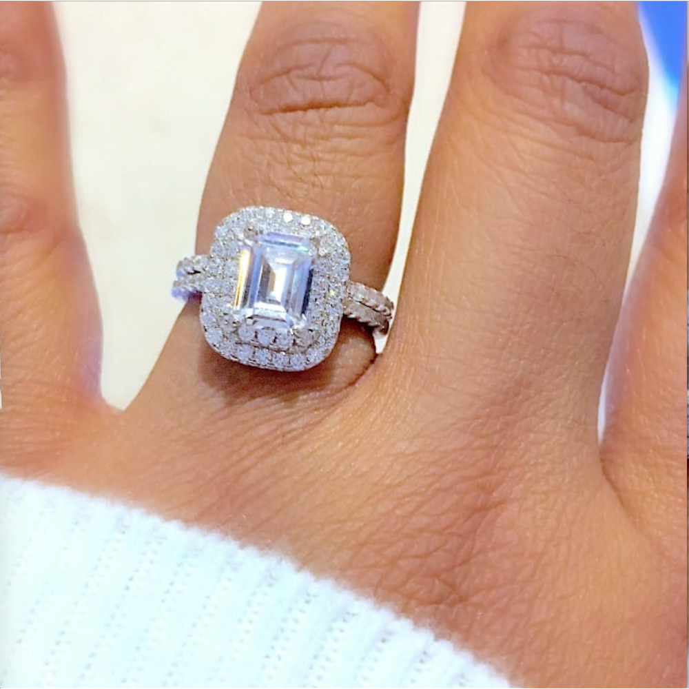 925 Sterling Silver Emerald Cut Cubic Zirconia Ring Set Regarding Current Square Sparkle Halo Rings (View 21 of 25)