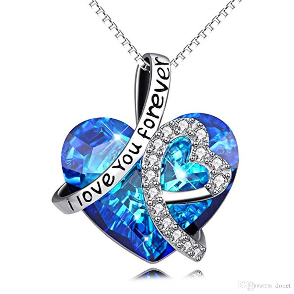 925 Sterling Silver I Love You Forever Crystal Heart Pendant Necklaces For  Woman Blue Crystal Choker For Bridal Wedding With Most Popular Ice Crystal Heart Collier Necklaces (View 1 of 25)