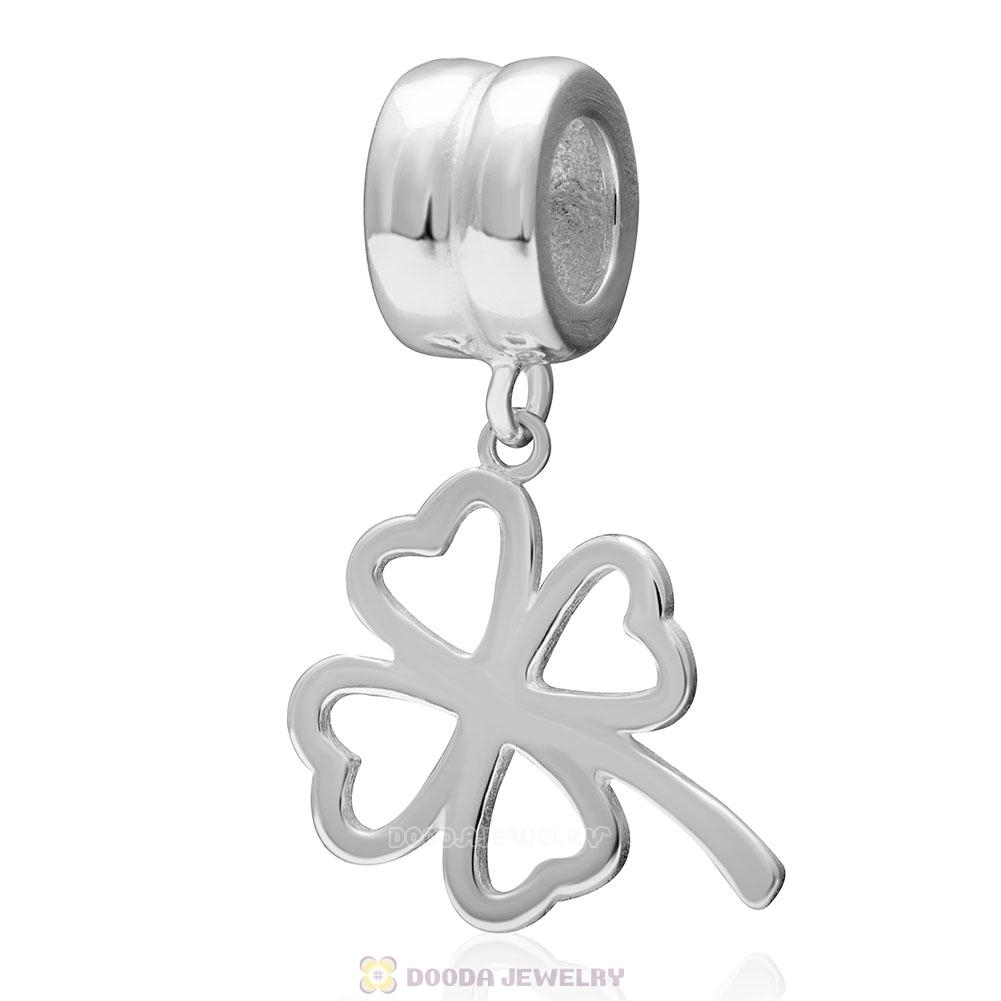 925 Sterling Silver Lucky Four Leaf Clover Dangle Pendant European In Most Current Lucky Four Leaf Clover Dangle Charm Necklaces (View 3 of 25)
