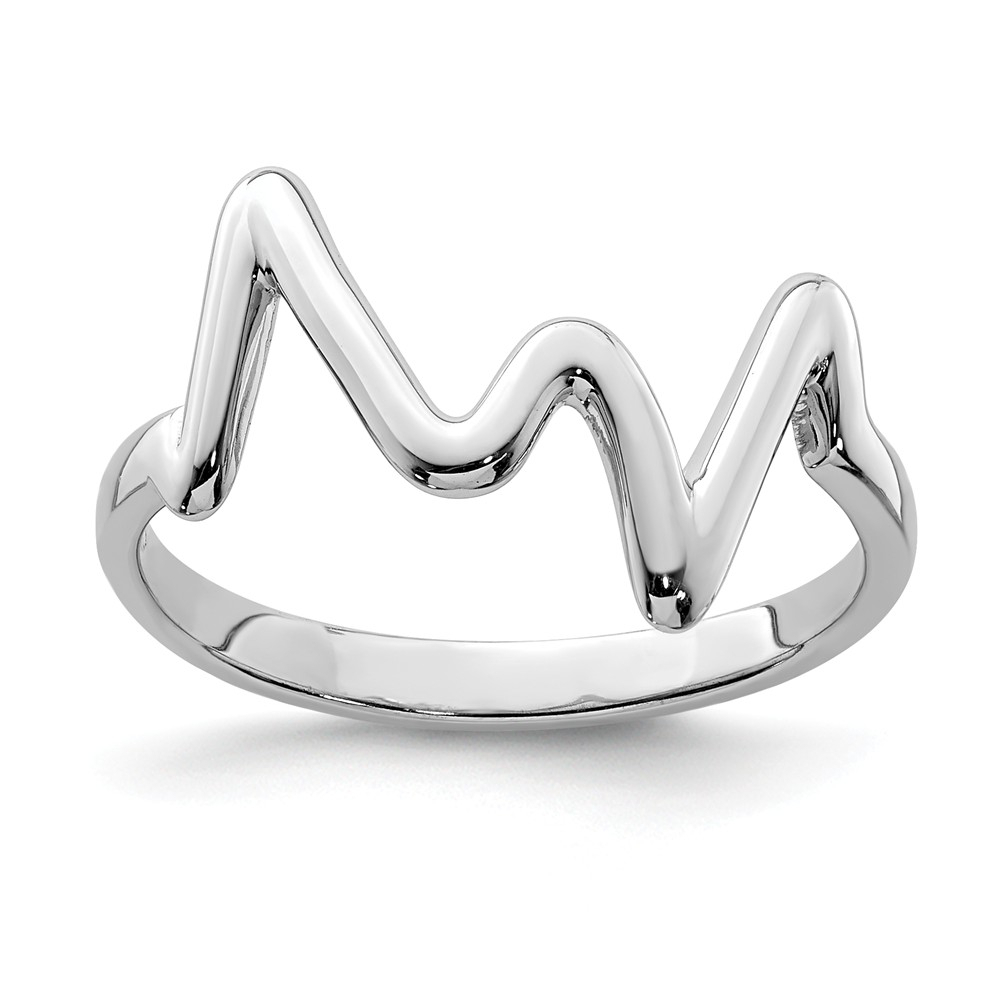 925 Sterling Silver Rhodium Plated Polished Zigzag Ring With Regard To 2017 Polished Zigzag Rings (Gallery 6 of 25)