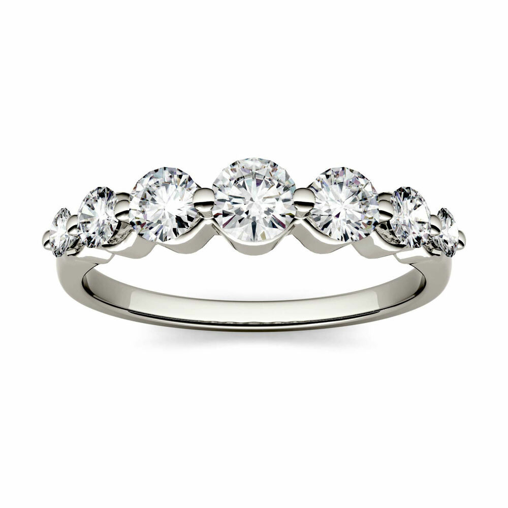 """925 Sterling Silver Ring 7 Stone Loose Moissanite Wedding In Most Recent Diamond Seven Stone """"s"""" Anniversary Bands In Sterling Silver (View 2 of 25)"""