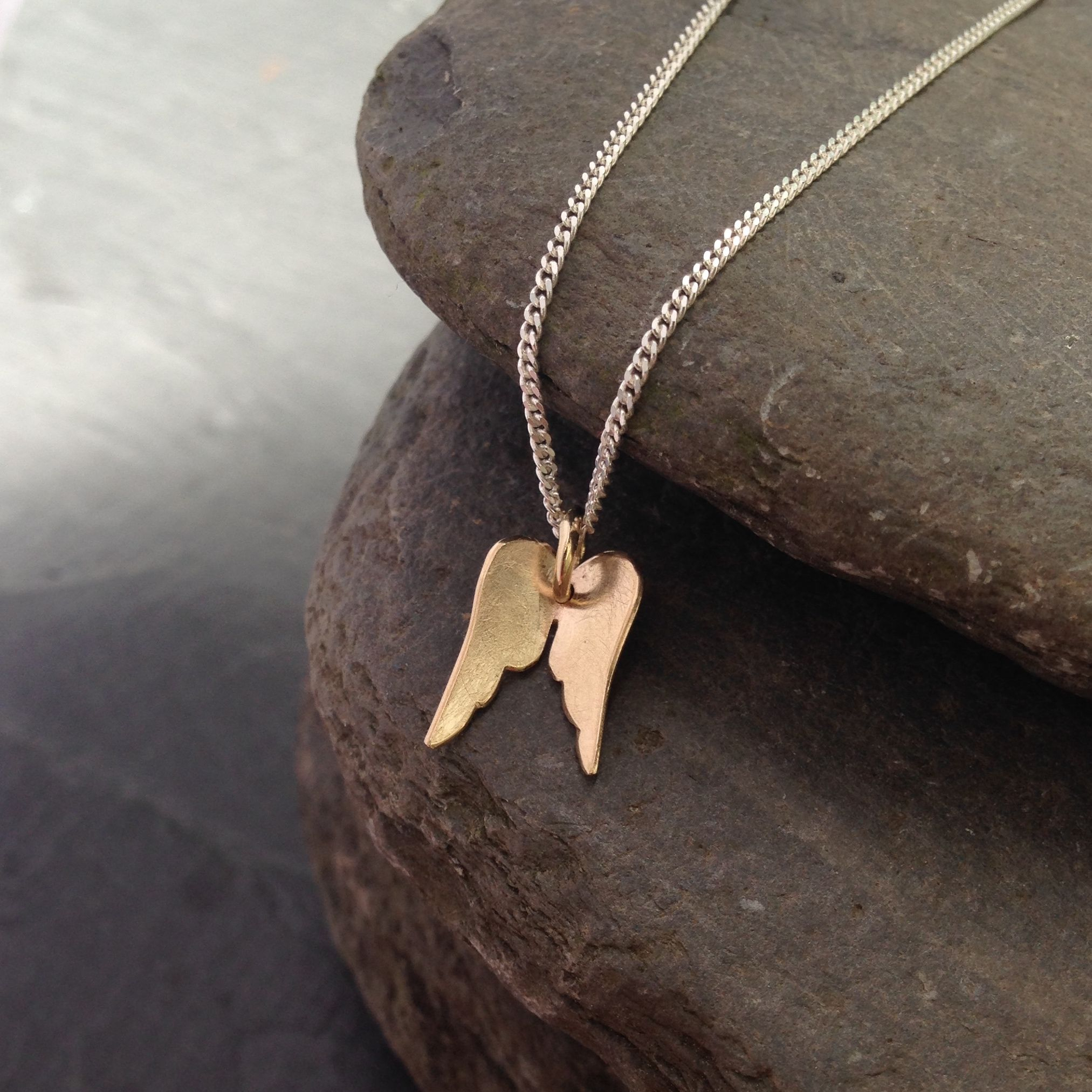 9Ct Gold Angel Wing Pendant Necklace – Personalised On Back In Newest Angel Wing Pendant Necklaces (View 3 of 25)