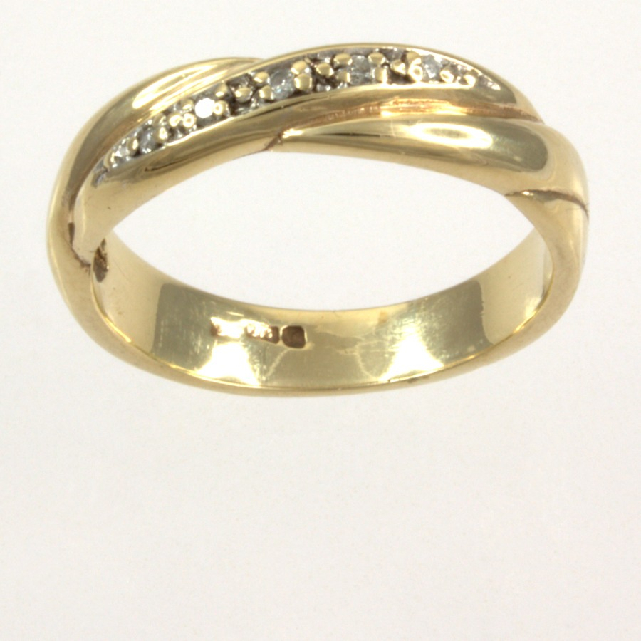 9ct Gold Diamond Band Ring Size I Pertaining To Best And Newest Simple Sparkling Band Rings (View 7 of 25)