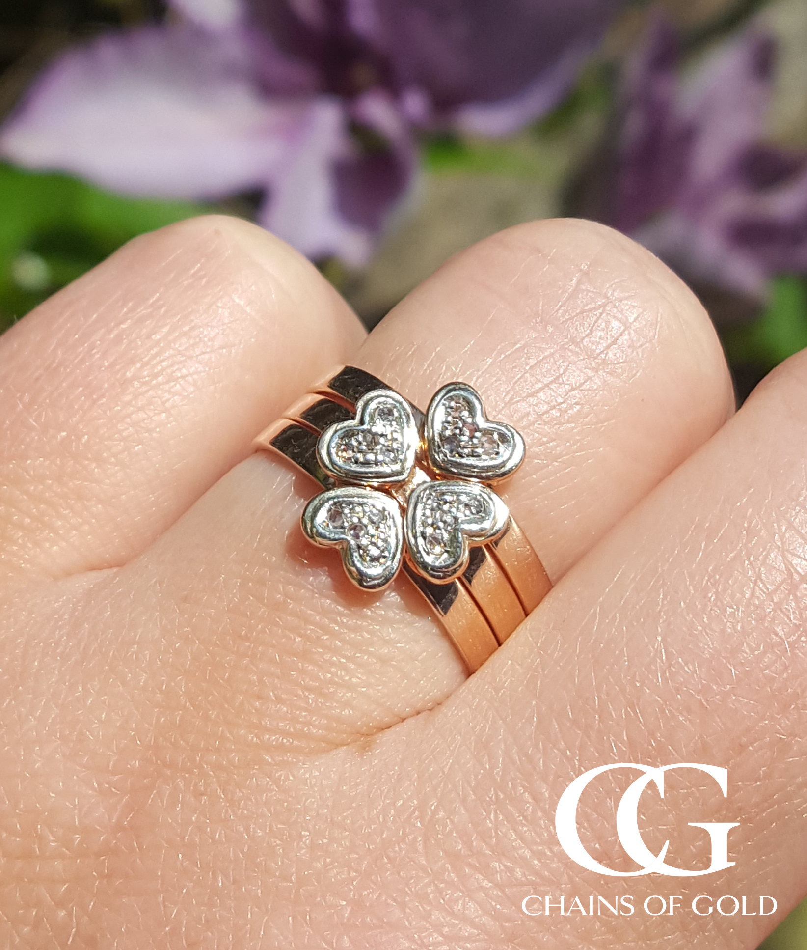 9Ct Rose Gold Diamond Heart Four Leaf Clover Ring Stack Intended For Most Popular Dangling Four Leaf Clover Rings (View 2 of 25)