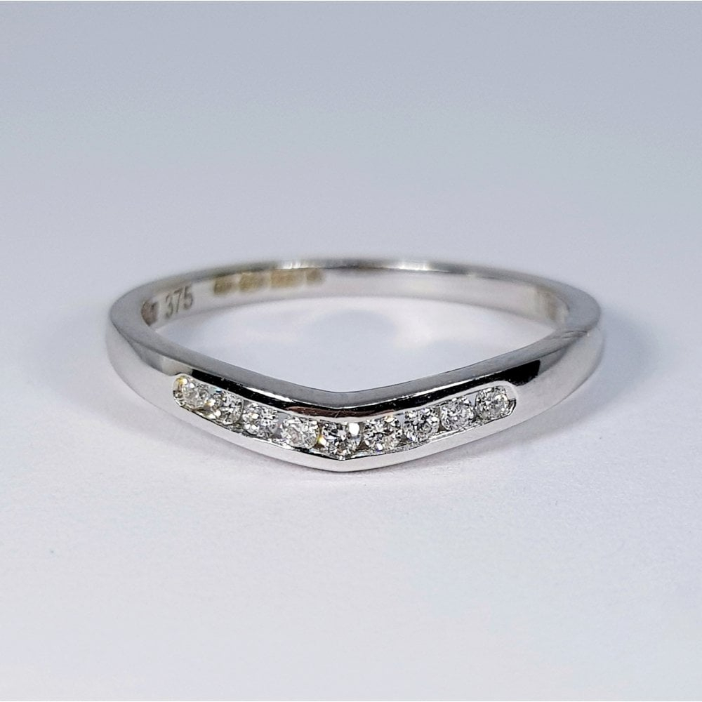 9Ct White Gold Channel Set Diamond Soft Wishbone Ring Within Newest Beaded Wishbone Rings (View 3 of 25)