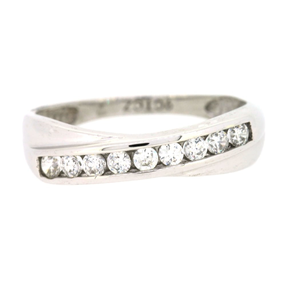 9Ct White Gold Cubic Zirconia Crossover Ring Pertaining To Current Sparkling & Polished Lines Rings (View 2 of 25)