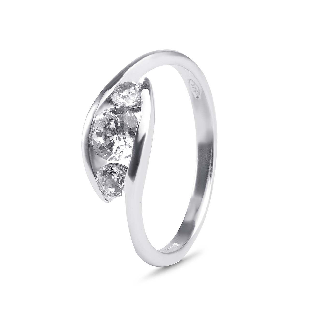 9Ct White Gold Cubic Zirconia Trinity Swirl Ring Pertaining To 2020 Champagne And White Diamond Swirled Anniversary Bands In Rose Gold (View 7 of 25)