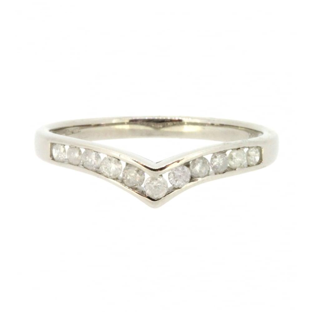 9ct White Gold Diamond Wishbone Ring Pertaining To Current Princess Wishbone Rings (View 16 of 25)
