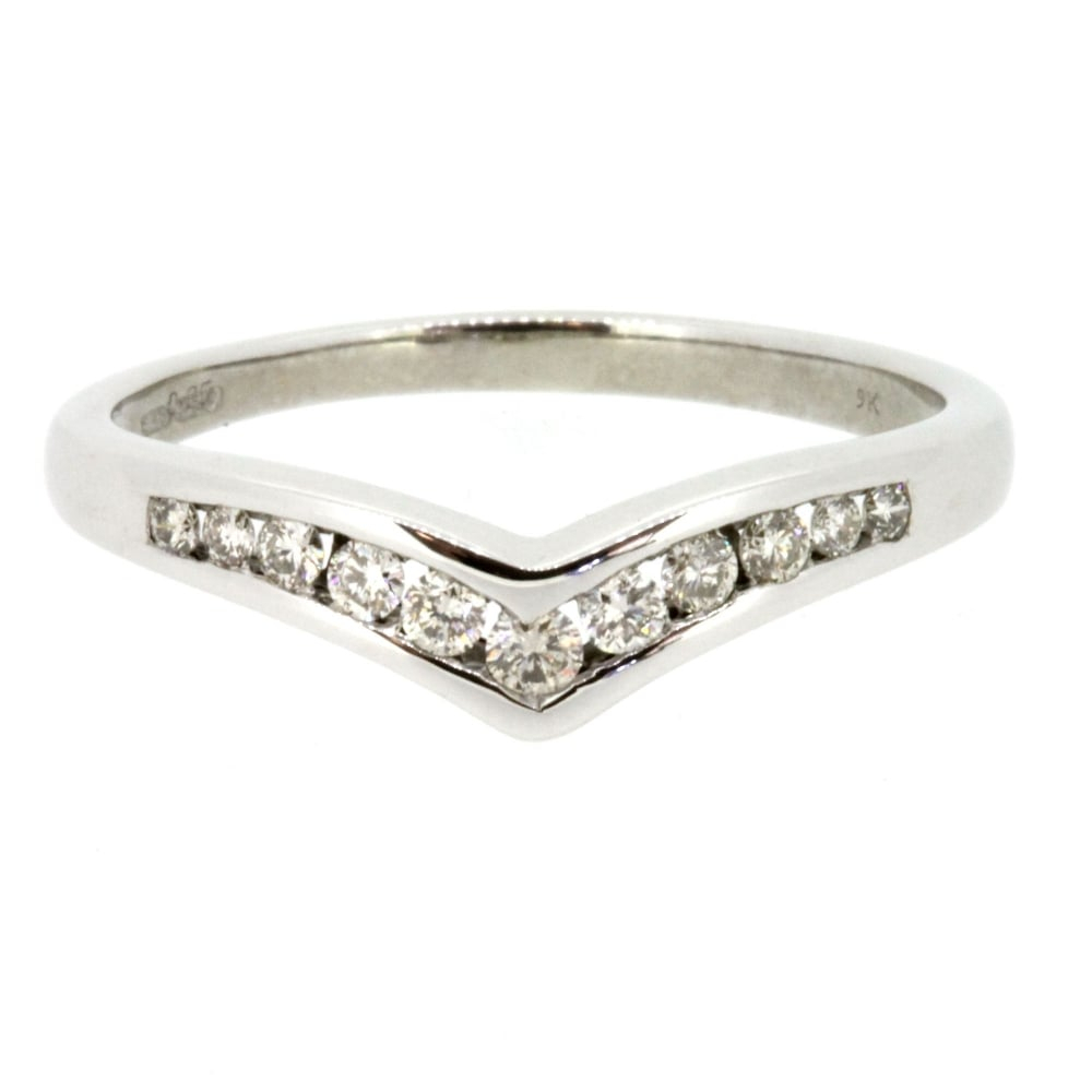 9ct White Gold Diamond Wishbone Ring Throughout Recent Sparkling Wishbone Rings (View 9 of 25)