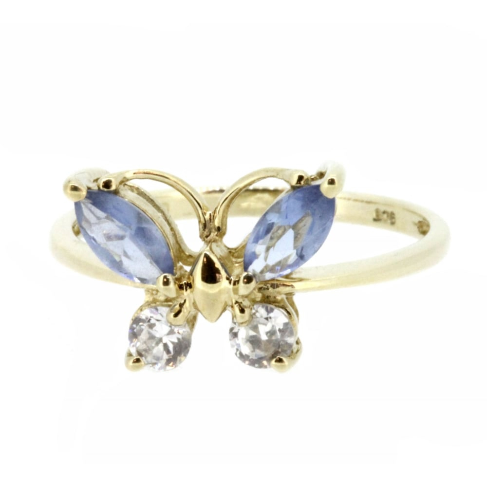 9ct Yellow Gold Cubic Zirconia And Tanzanite Butterfly Ring With Most Up To Date Sparkling Butterfly Rings (View 17 of 25)