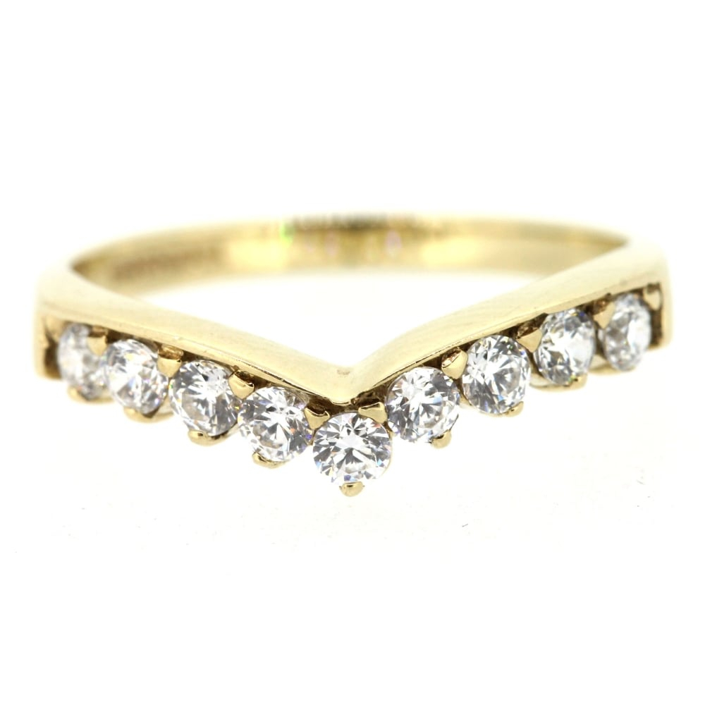 9ct Yellow Gold Cubic Zirconia Wishbone Ring In Most Recent Sparkling Wishbone Rings (View 8 of 25)
