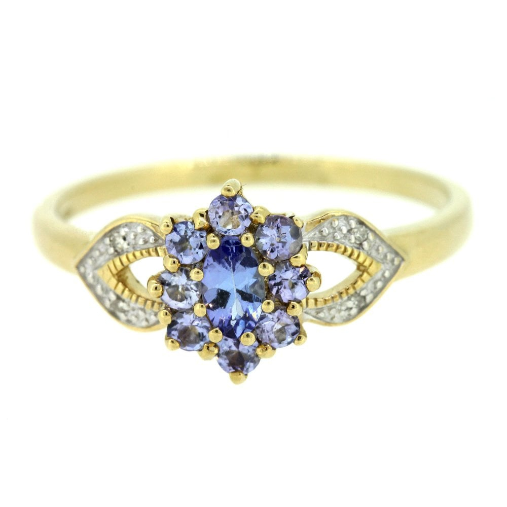 9Ct Yellow Gold Diamond And Tanzanite Cluster Ring With Regard To Current Elegant Sparkle Rings (View 2 of 25)
