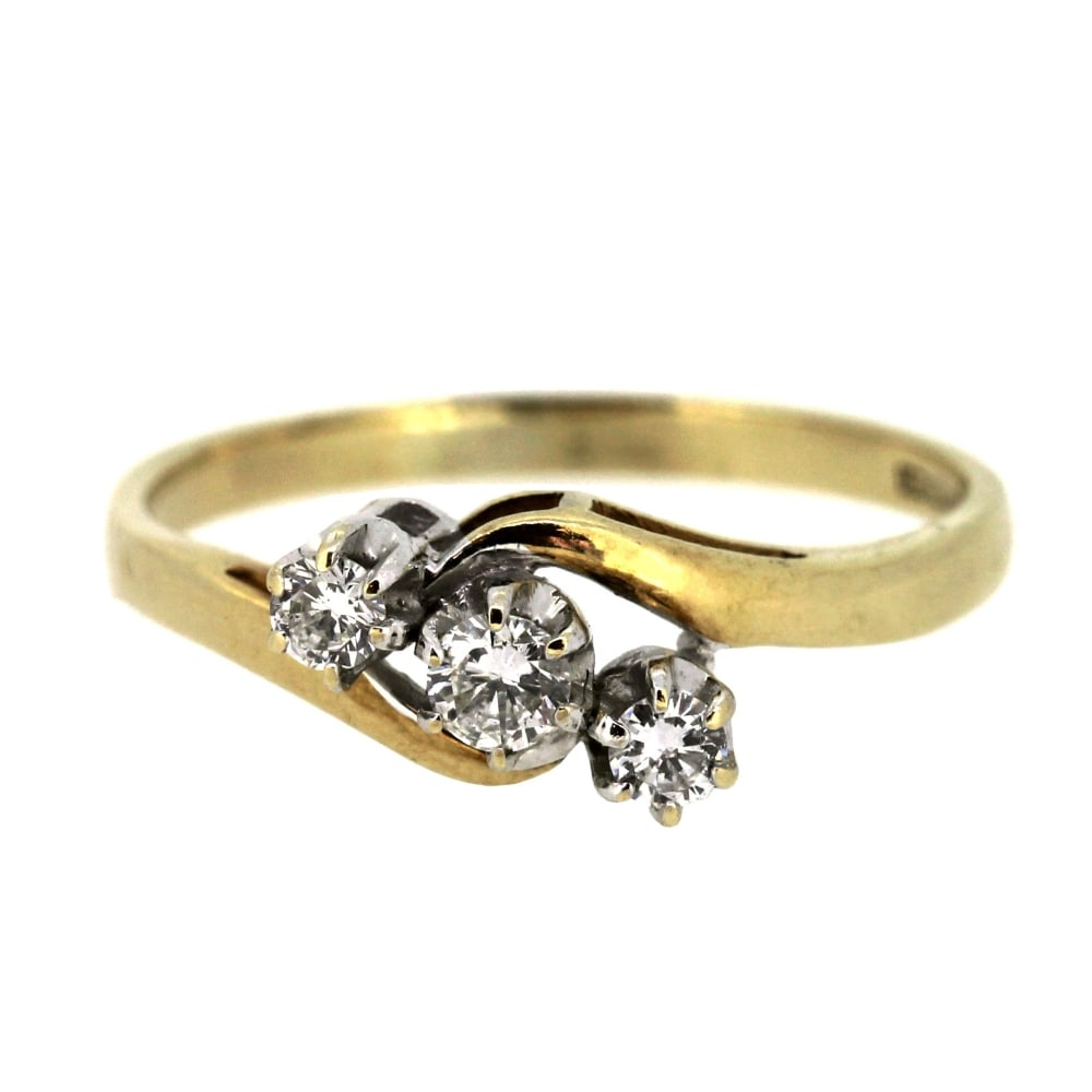 9Ct Yellow Gold Diamond Trilogy Ring With Recent Sparkling & Polished Lines Rings (View 3 of 25)
